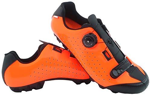 LUCK Zapatilla de Ciclismo MTB ÍCARO con Suela de Carbono y Sistema rotativo de precisión acompañada de un Velcro. (43 EU, Naranja)