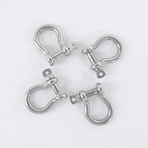 HIGOOD Size 1/4' Anchor Shackle, 316 Stainless Steel Body Material, 316 Stainless Steel Pin Material, 4PK.