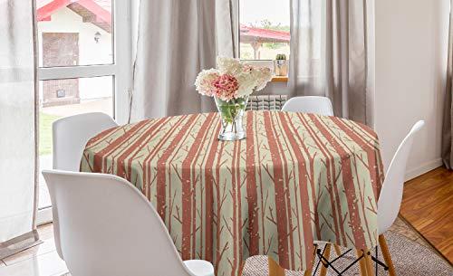 ABAKUHAUS grunge Rond Tafelkleed, Boomstam Branches Winter, Decoratie voor Eetkamer Keuken, 150 cm, Grijs Geel Pale Rust