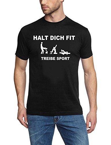 Coole-Fun-T-Shirts Herren T-Shirt Halt Dich FIT, TREIBE Sport Persiflage SCHWARZ/Weiss Gr.XL