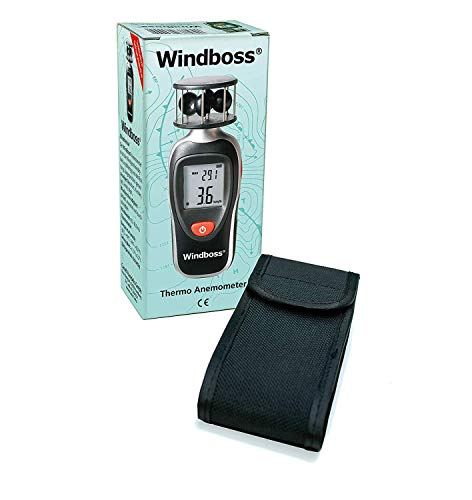 Canel Wind - und Temperaturmesser für Segler, Surfen, Wassersport - Thermometer Anemometer Windmesser Windboss Stativgewinde, Schutztasche, schwarz