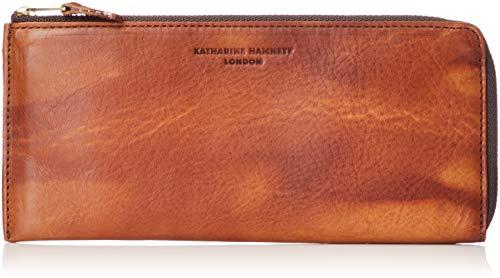 [キャサリンハムネットロンドン] 財布 高級イタリアベジタブルタンニンレザー FLUID フルイド L字ファスナー 薄マチ オレンジ