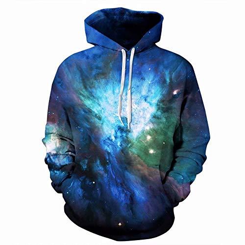QUATEE Herren Kapuzenpullover Langarm Sweatshirtit Taschen Halloween Weihnachten Hoodie Kosmos, Fernrohr, Platz, Galaxis XL