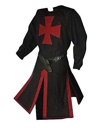 LiangZhu Túnica Medieval para Hombre Dividir Cruzar Medieval Traje De Escenario Halloween Cosplay Sin Cinturón Negro 2XL