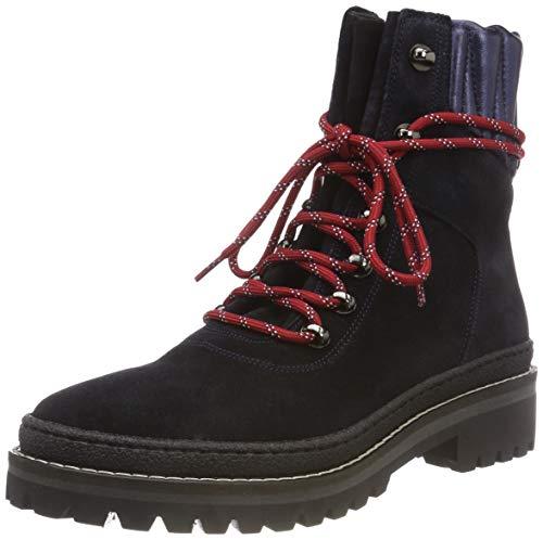 Tommy Hilfiger Damen MODERN Hiking Suede Combat Boots, Blau (Midnight 403), 40 EU