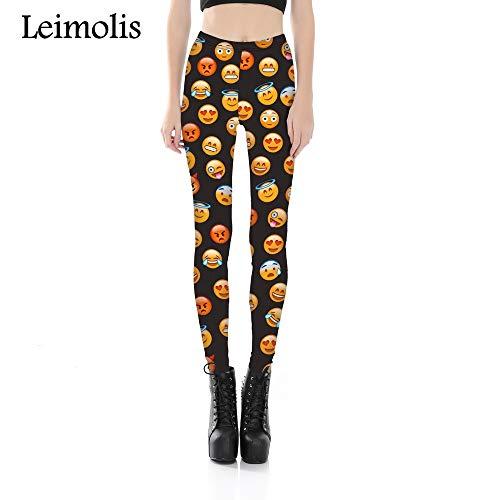 LEIMOLIS Yoga Hosen Leggings Printed 3D Fitness Push Up Workout Leggings Frauen Lustige Emoji Ausdruck Plus Größe Hohe Taille Punk Rock Hosen, Wie Gezeigt, M