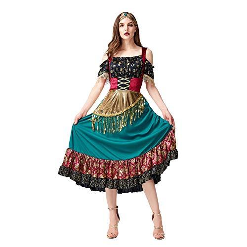 CGBF -Vestido de bailarina flamenca para mujer, uniforme de espectáculo, carnavales de Halloween, fiesta para adultos, disfraz gitano, verde, M