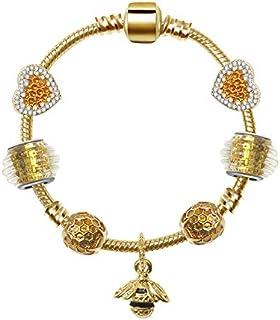Qings Fashion DIY Golden Crystal Beads Bracelet Bangle Snake Chain Charm with Bee Pendant Bracelet for Women 18cm
