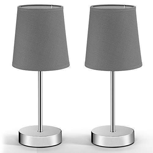 Monzana Nachttischlampe 2er Set grau Tischlampe Anthrazit Stoffschirm 32cm Tischleuchte Nachttischleuchte Leselampe E14