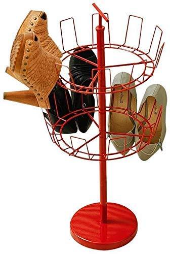 PIVFEDQX Zapatero Giratorio Rojo Arbol de Zapatos de 2 Niveles Organizador de Almacenamiento Doble Estantes Balcón Colgante de Metal