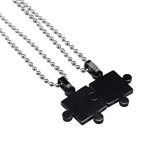 Hanessa Partner-sieraden 2 halskettingen zwart puzzel roestvrij staal vriendschap cadeau voor Kerstmis voor echtgenote en echtgenote, vriend en vriendin, mannen en vrouwen, paar kettingen