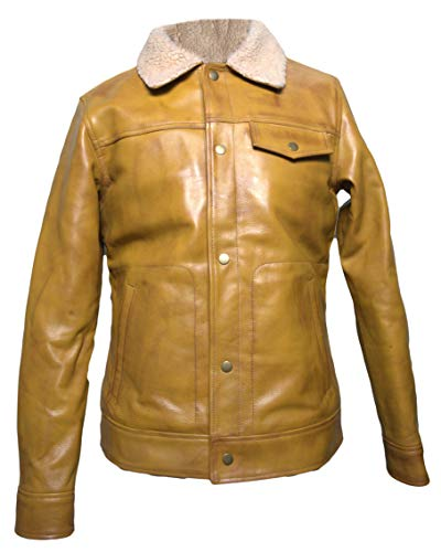 BOSCAGE Men's Cowhide Leather Trucker Jacket with Sherpa Brown Collar (S)