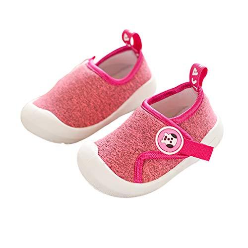 DEBAIJIA Kleinkindschuhe 1-4T Baby First-Walking Kinderschuhe Mesh Atmungsaktive Turnschuhe Kleinkind rutschfest TPR Material Sneaker 23/24 EU Pink (Etikettengröße-19)