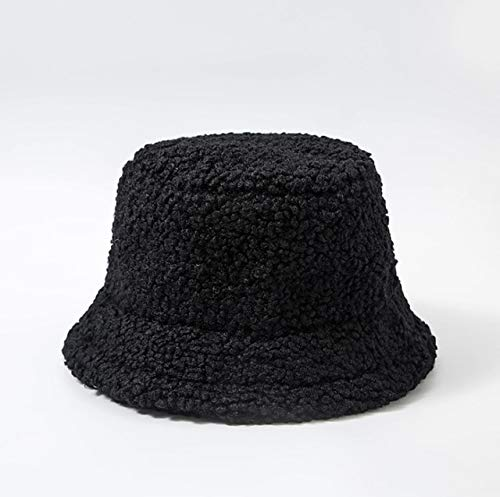 Sombrero de Mujer Piel Artificial sólida Gorra Femenina cálida Piel sintética Sombrero de Cubo de Invierno para Mujer Sombrero de protección Solar al Aire Libre Sombrero Panamá Lady Cap - Negro