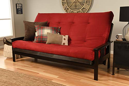 Queen Size Montreal | Espresso Futon Frame w/ 8 Inch Innerspring Mattress Sofa Bed Modern Futons (Red Mattress and Frame Only (Queen Size))