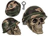 MC Trend Totenkopf Spar-Dose-Büchse Skull Toten-Schädel Gotic Mystic Figur Deko-Geschenk-Idee (Totenkopf Armyhelm)