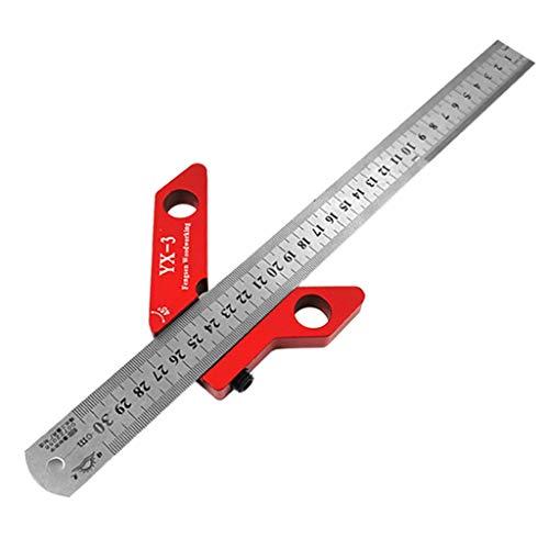 BIlinli Holzbearbeitungs-Scriber-Markierungswerkzeug Circle Center Finder 45 ° 90 ° Scribe Scribing Rule Layout Gauge 300mm