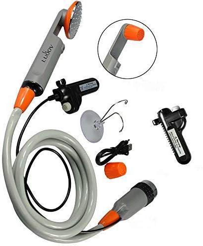 Reisen kompakte Duschpumpe mit Zwei abnehmbaren USB-Akkus 2 Batterien Handbrause f/ür Camping Qbuds Tragbare Campingdusche Wandern Notf/älle