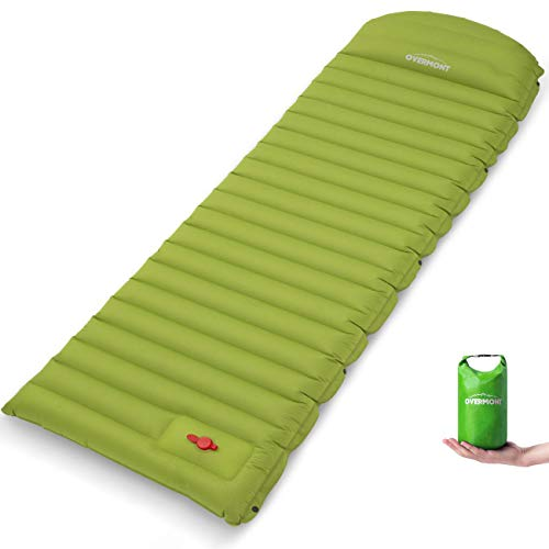 Overmont Large Sleeping Pad (74.8x27.5in) with Pillow 4.7in Extra Thickness Mat Ultralight Inflatable Camping Air Mattress for Backpacking Hiking Car Travel Waterproof Compact with Carrying Bag