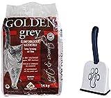 Golden Grey - Arena para Gatos (14 kg, Muy Fina, sin Polvo, sin Perfume), diseño de betonita