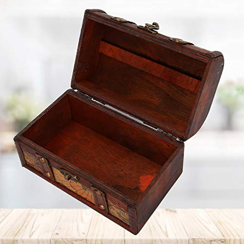 Cuque Almacenamiento de Joyas Vintage, Caja de Madera Vintage portátil para Sujetar Pulsera de Anillo para Traje para diversas Ocasiones para la decoración de la Sala(Map Trumpet)