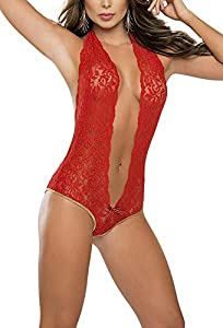 Kfnire Ropa Interior Mujer Sexy Picardias, Ropa Interior de Encaje V Body Halter Transparente Mini Bodydoll Sexy con Tapa de Ojos (XL, Rojo)