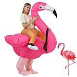 RHYTHMARTS Inflatable Flamingo Costume Ride On Flamingo Christmas Costume Cosplay Party for Adult (Flamingo with 1 Fan)