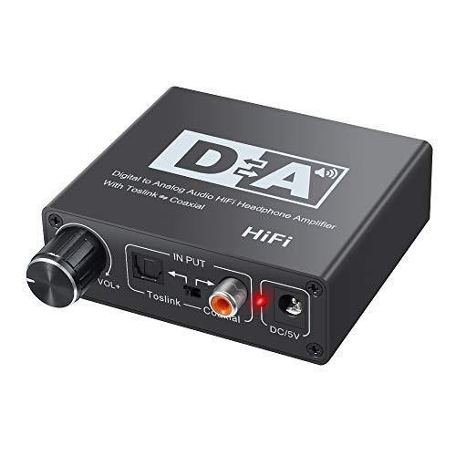 SNOWINSPRING Interruptor Bidireccional Coaxial Toslink óPtico DAC RCA Jack de 3,5 Mm Adaptador de Audio Digital a AnalóGico Convertidor Enchufe de la UE