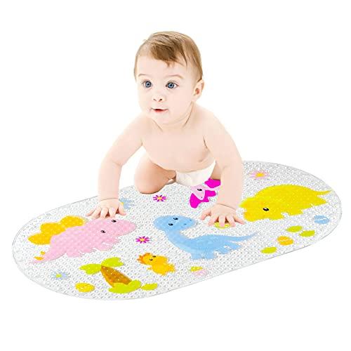 Ofima Tapis de bain antidérapant pour enfants et bébés - Lavable à la main - Avec motifs pour enfants et bébés - 39 x 69 cm (transparent)