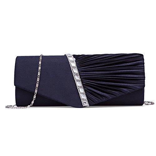 BAIGIO Bolso de Mano para Mujer Bolso para Fiesta Boda Salidas Bar Mini Size Estilo Brillante con Diamantes y Cadenas Bolso Nupcial (Azul Oscuro)