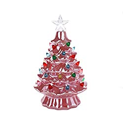 Mini metallic pink ceramic tree