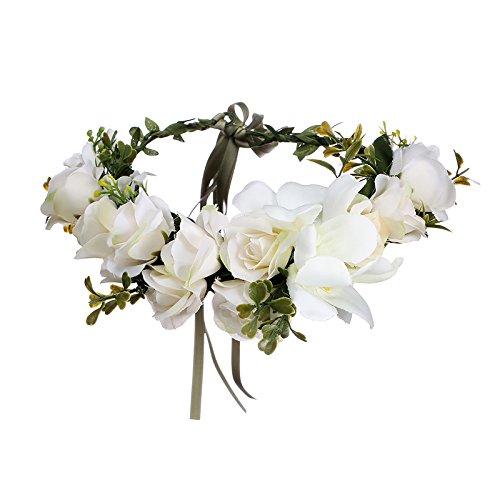 AWAYTR Women Girls Boho Flower Wreath Headband Floral Crown Garland (Avorio)