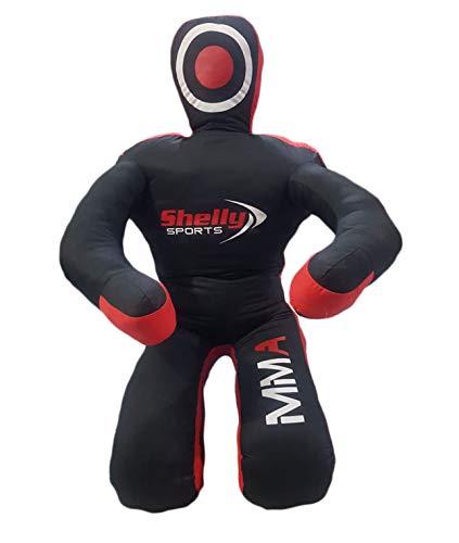 "Shelly MMA Dummy Judo Grappling Dummy Punching Bag Brazilian BJJ JIU Jitsu Sitting Position Dummy Wrestling Martial Arts Boxing Karate Training Dummy - Canvas - UNFILLED (Black - Canvas, 70"")"