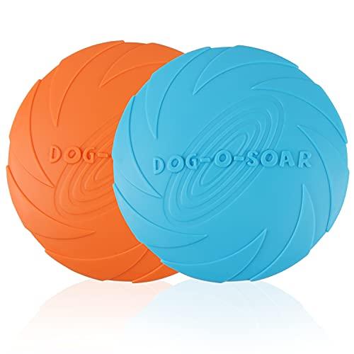 2 Piezas Frisbees de Perro, Juguete de Disco Volador para Perro, Perros interactivos Frisbee, Juguete para Masticar Mascotas de Goma, Ideal para Entrenar, lanzar, atrapar y Jugar(Naranja/Azul)