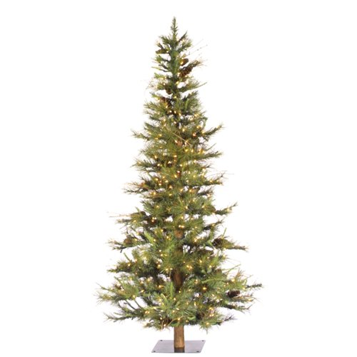 Vickerman Artificial Christmas Tree Classic PVC Needles Ashland Fir Prelit with Clear Mini Christmas Lights, 6', Green