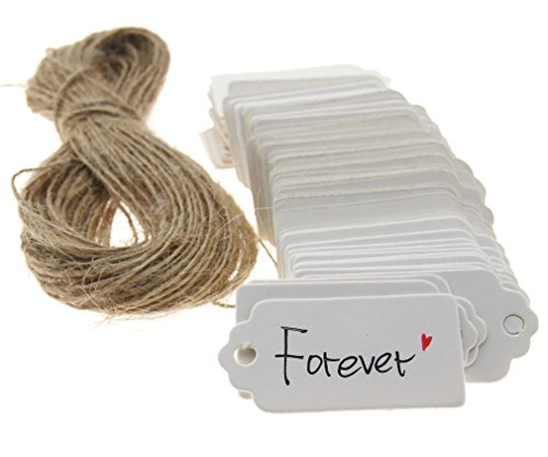 100Stk Weiß Anhänger Etiketten Gift Tags 4 x 2CM Geschenkanhänger