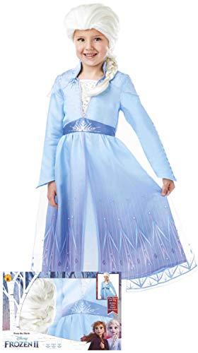 Rubies- Disfraz de Elsa de Frozen 2 con Peluca para niñas 5-6 años, Color, (Rubie'S Spain, S.L. 300631-M)