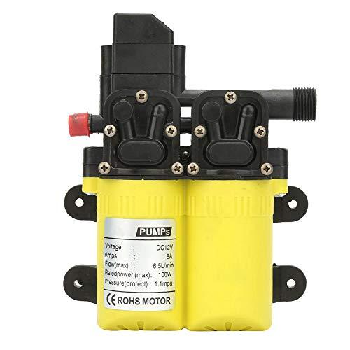 Waterpomp 12 V mini, waterpomp 100 W elektrische zelfaanzuigende membraanwaterpomp intelligente dual core elektrische reinigingsspraypomp met dubbele aanzuiging (geel)