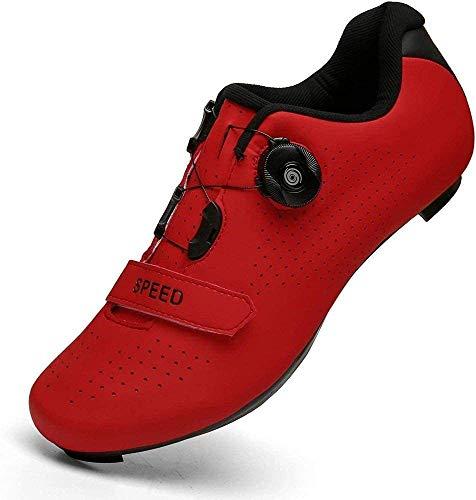 CHUIKUAJ Zapatillas de Ciclismo para Hombres, Mujeres, Zapatillas de Ciclismo de Carretera, Zapatillas Giratorias, Hebilla Transpirable, Compatible con SPD Look Delta,Red-36EU