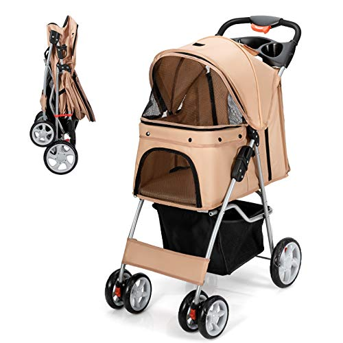 Giantex Folding Dog Stroller, Pet Stroller for Small Medium Dogs Cats Puppy, 4 Lockable Wheels Cat Stroller Travel Carrier Strolling Cart with Safety Belt, Removable Liner and Storage Basket (Beige)