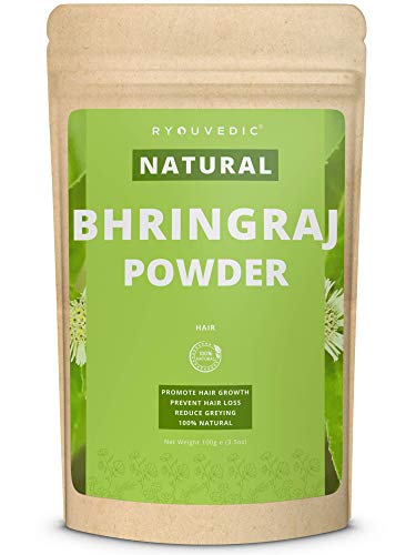 Premium Bhringraj Powder by Ryouvedic | Natural Hair Growth Mask For Men & Women | Restore & Promote Thicker, Fuller, Softer & Longer Hair | Treat Hair Loss, Premature Greying, Dry & Thinning | 100g