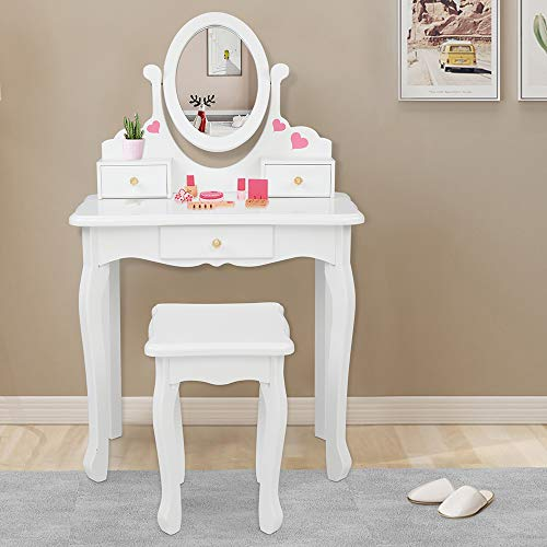 JOYMOR Kids Vanity Set with Mirror and 3 Drawers, Princess Vanity Table and Chair Set, Makeup Dressing Table with Rotatable Mirror for Girls (White)