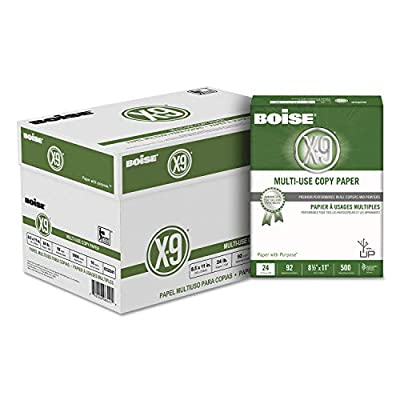 Boise CC2241 X-9 Multi-Use Copy Paper, 92 Bright, 24lb, 8.5 x 11, White, 500 Sheets/Ream, 10 RM/CT