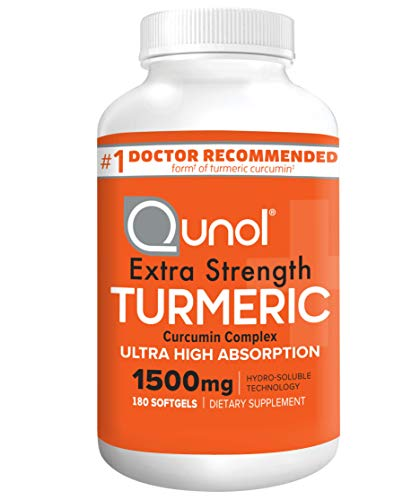 Turmeric Curcumin Softgels, Qunol with Ultra High Absorption 1500mg, Joint Support, Dietary Supplement, Extra Strength, 180 Softgels