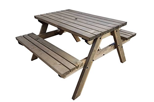 FORTEM Traditional Pub and Garden Style Bench - Commercial Grade - Heavy Duty - Pressure Treated - Handmade Wooden Outdoor Garden Furniture in UK (5ft, Rustic Brown)