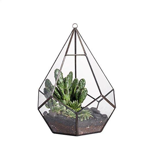 Moderner Pflanzentopf zum Aufhängen, trendiges Design, transparent, Tropfen-/Diamantform, Glas, geometrisches Terrarium, glas, farblos, Schwarz
