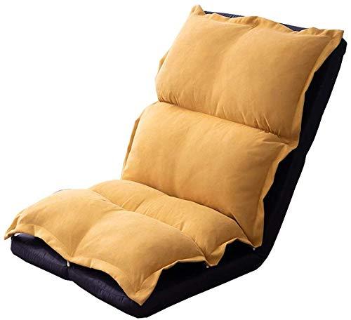 折り畳み式のパッド付き床の椅子二重層の厚化取り外し可能で洗える5速調節可能な折りたたみ椅子バルコニーの寝室ベアリング重量130kg 118x56x16cm(色:黄色)