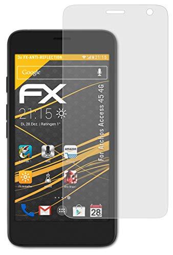atFolix Panzerfolie kompatibel mit Archos Access 45 4G Schutzfolie, entspiegelnde & stoßdämpfende FX Folie (3X)