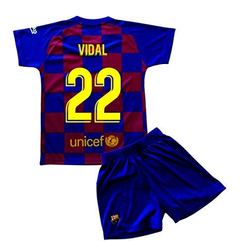 Champion's City Set Trikot und Hose für Kinder zur Erstausstattung – FC Barcelona – Replik – Spieler, Jungen, 22 - Vidal, 0 Años