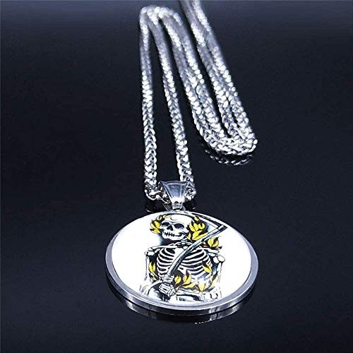 CCXXYANG Co.,ltd Necklace Gothic Skeleton Grim Reaper Stainless Steel Glass Silver Color Necklaces for Women/Men Long Jewelry 60Cm